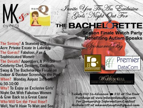MommyQ & MK Events Present The Bachelorette Finale Watch Party to Benefit Autism Speaks: A Night of Romance, Roses & Reality TV with Heart